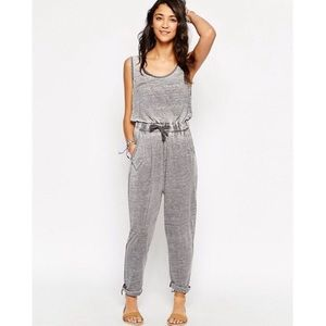 ASOS | Washed Gray Tie Waist Lounge Jumpsuit